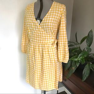 Old Navy Cotton Wrap Dress Yellow Checkered Size M